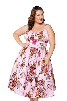 Pinup Couture - Ella Dress in Pink and Baton Rouge Rose Floral Print - Plus size Pink Plus Size Dresses, Plus Size Girls, Plus Size Outfits, Plus Size Womens Clothing, Clothes For Women, Pinup Girl Clothing, Women's Clothing, Pinup Couture, Dresses To Wear To A Wedding