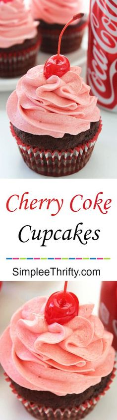 Chocolate Cherry Coke Cupcakes are on my  list of favorite cupcakes! Perfect idea for a party treat. Simple and easy chocolate cupcake, filled with a cherry and topped with a delicious whipped frosting!