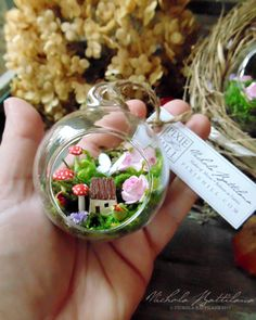 Miniature Fairy Garden Glass Bauble - Nichola Battilana #mini_garden_christmas