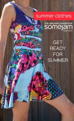 Colourful summer dresses designed by artists. Discover our vivid summer dress collection. Women's summer clothes with striking and flashy paintings  WRAP YOURSELF INTO ARTWORK - Dress to impress with this sleeveless skater dress! The soft fabric and flared skirt give it an elegant twist that brings out the intricate design with a beautiful vibrancy. #summerclothes #mid-thigh #dresses #bold #elastic #vivid #colourful #striking #unique #flared #summerdresses #eye-catching #garish #artwork…