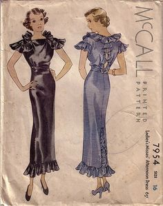 afternoon dress mcall 1930's pattern   sib