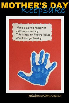 First Day of Kindergarten Painted Handprint Rhyme