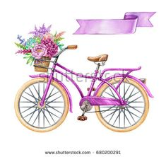 b212599f847452 watercolor illustration, bicycle, hipster bike, blank ribbon tag, purple  banner, label, wild flowers, holiday clip art isolated on white background