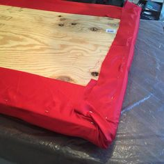 Ahh the things you can do with plywood a mattress pad Halloween remnants and some imagination --the headboard is 1/2 done #diy #craftymama