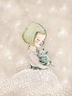 Art Poster Print Childrens Wall Art Print Girl with cat por holli