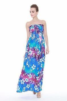 969a10f2d2 Hawaiian Luau Dress Cruise Maxi Long Tube Elastic Plus Size Tie Rainbow Blue