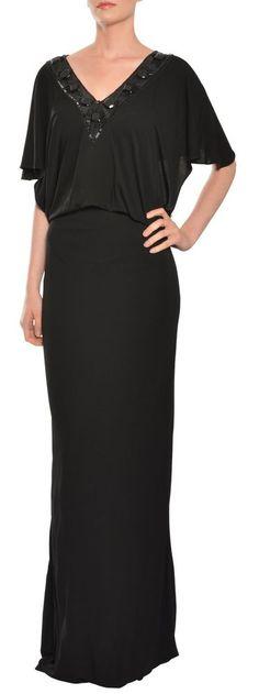 ESCADA Jet Black Jersey Knit Cap Sleeve Beaded Long Evening Gown Dress 36 6 NEW #Escada #Blouson #Formal