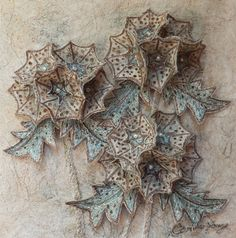 Botanical embroidery, textile art, 3d 'Paper Moon' assemblage by Corinne Young