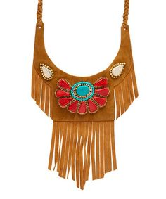 Another great find on #zulily! Coral & Brown Faux Suede Fringe Bib Necklace #zulilyfinds