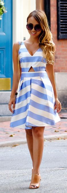 Lace & Locks White And Blue Striped Little Dress