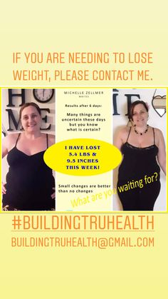 Michelle Zellmer has had amazing results. Look After Yourself, Need To Lose Weight, Change Is Good, Natural Medicine, Good Things, Amazing, Health, Health Care, Natural Home Remedies