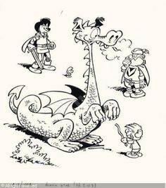 original artwork by Peyo: Johan and Peewit plus a dragon, the king and a smurf.