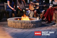 Best Way Stone > Firepit: Palladio Antico Wedge (Beige Mix w/ Grey Mix coping) // Pavers: Strada Nova (Golden Meadow) with Strada Nova (Ultra Black) accents #outdoor #firepit #backyard #landscape #design