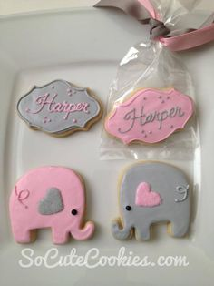 Pink and gray elephants baby shower favors girl, baby girl shower themes, tea party Baby Shower Favors Girl, Baby Girl Shower Themes, Bbq Decorations, Baby Shower Decorations, Baby Cookies, Baby Shower Cookies, Elephant Baby Showers, Baby Elephant, Babyshower