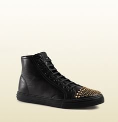 Studded Leather High-Top Sneaker | Gucci