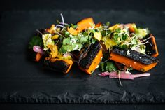 Since this dish debuted on the menu, our guests can't get enough of the Burnt Carrot Salad. You asked for it, so here is the story and a recipe you can try at home, sans fireplace. When Chef Michael Paley set… Veg Recipes, Wine Recipes, Mexican Food Recipes, Vegetarian Recipes, Ethnic Recipes, Paleo Food, Chef Dishes, Side Dishes, Fire Food
