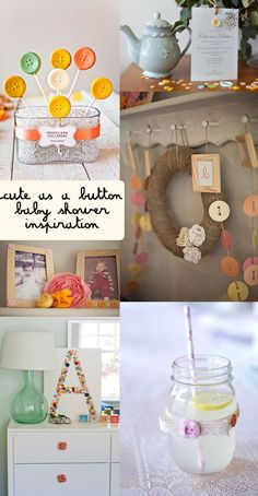 cute as a button baby shower. Love the button monogram made at the shower by shower guests!