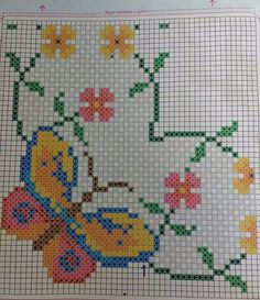 Stitching a Butterfly Butterfly Cross Stitch, Cross Stitch Flowers, Cross Stitch Designs, Cross Stitch Patterns, Bordado Tipo Chicken Scratch, Hand Embroidery Flower Designs, Pipe Cleaner Crafts, Pipe Cleaners, Chicken Scratch Embroidery