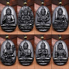 Natural Obsidian Pendant Eight Guardian Twelve Zodiac Natal Buddha Mascot Amulet Lucky Necklace Black Stone For Women Men  Small