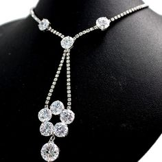 Lovely Wedding Crystal Silver Plating Flower Tassel Necklace Set Party NS2281A