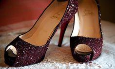 Purple sparkle peep toe heels