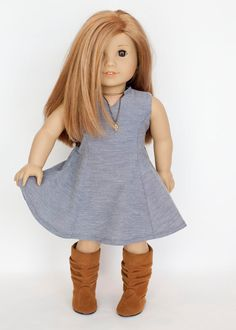 American Girl doll sized panel dress - blue chambray by EverydayDollwear on Etsy