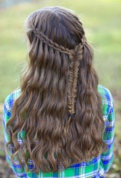 Scissor Waterfall Braid Combo.  Love this version of the waterfall braid! #CuteGirlsHairstyles