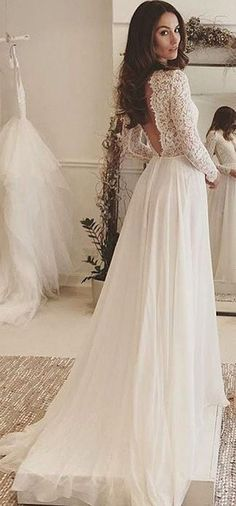 Simple A-Line Wedding Dress - Bateau Long Sleeves Sweep Train with Lace