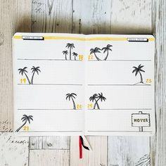 Bullet journal weekly layout, palm trees drawing. | @happybujolife