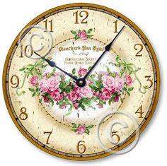 Shabby Chic Decor, Vintage Decor, Rose Clock, Decoupage, Rose Basket, Vintage Beauty, Colorful Decor, Freckles, Pretty Pictures