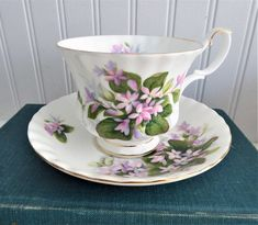 Pretty Mayflower Royal Albert Cup and Saucer Pink Blossoms Montrose Shape Tea Cup Saucer, Tea Cups, Pink Blossom, My Cup Of Tea, May Flowers, Royal Albert, Afternoon Tea, Bone China, Pretty In Pink