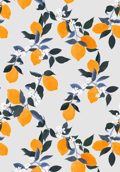 Bright Lemons Wallpaper, designed by Bella Gomez and featured on Guildery