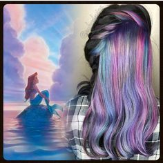 Gorgeous mermaid hair color inspired by Ariel, the Little Mermaid. Beautiful color work @rubydawndevine! rainbow hair mermaid hair color unicorn hair color hotonbeauty.com