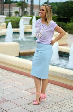 pastel blue leather skirt