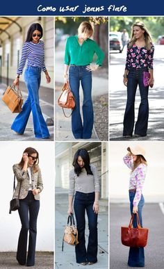 I like these high rise flared jeans. If you send me thes, also send a top that I could wear with it Look Fashion, Winter Fashion, Womens Fashion, Fashion Trends, Cut Jeans, Jeans Style, Flare Jeans Outfit, Traje Casual, Looks Jeans