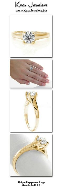Our Trellis engagement ring design features a 0.75 carat round diamond held within a unique four prong setting. The beautiful prongs gracefully weave around one another and seamlessly merge into the band. The open windows of the side view create a light and airy feel, while beautifully framing the center stone. Click on pin and work directly with our award winning designers and master jewelers along every step of the custom process.  #engagement #ring #wedding Halo Diamond Engagement Ring, Designer Engagement Rings, White Gold Diamonds, Round Diamonds, Contemporary Engagement Rings, Trellis Design, Side View, Unique Rings, Fashion Clothes
