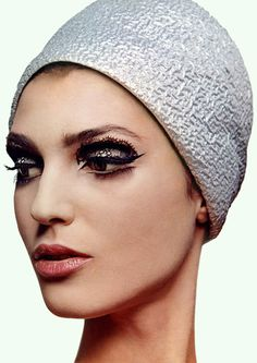 Benedetta Barzini is wearing a cap by Halston, photo Bert Stern 1960s