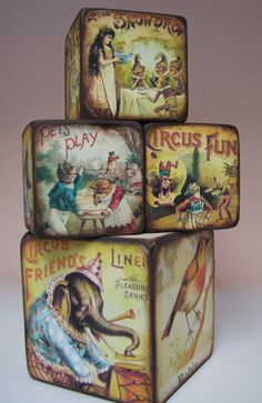 Vintage-style blocks. A great use for the vintage children's books I have a hard time saying no to.