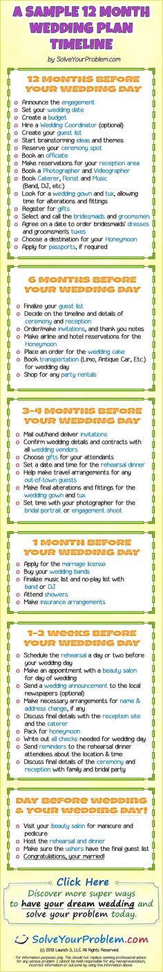 12 month wedding plan, because i want a year long engagement.