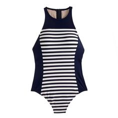 3b0411d93d6a7 High-neck zip-back one-piece in colorblocked stripe : Women tops & sports  bras. One Piece SwimsuitHigh ...