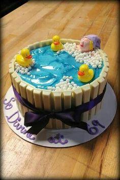 Kit kat cake - with rubber ducks in vat
