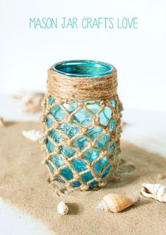 Fishnet Wrapped Mason Jar - Beach Decor Ideas - Mason Jar Craft Ideas @Mason Jar Crafts Love