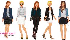 """fashion illustrations for the TV show """"Magnifique by Cristina"""" illustration by Solène Debiès Urban Fashion, Mens Fashion, Fashion Trends, Travel Logo, Drawing Clothes, Sport Chic, Timeless Fashion, Girly Things, Dress To Impress"""