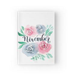 Notizbuch / Notebook für #schule oder #universität   #aquarell #watercolor #illustration #lettering  November Handlettering mit Aquarell Blumen von farbcafe