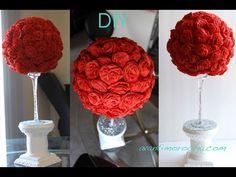"""▶ DIY """" Hazlo tu misma"""" Adorno de rosas de papel crepe / Paper Rose topiary/ centro de mesa - YouTube"""