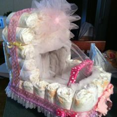 Diaper carriage. Made this for my daughters baby shower. Beautiful center piece.