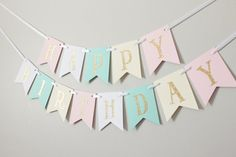 Gold, Pink, White, Mint, Ivory Happy Birthday Banner/ Girl Birthday/ Princess Party/ Child Birthday/ Party Decoration/ Party banner/