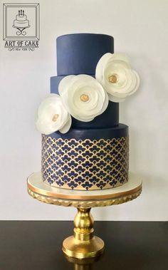 Navy Gold Birthday Cake by ArtofCakeNY