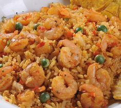 Rice with Shrimp Recipe - Recetas Shrimp And Rice Recipes, Seafood Recipes, Mexican Food Recipes, Kitchen Recipes, Cooking Recipes, Colombian Food, Peruvian Recipes, Healthy Recipes, Rice