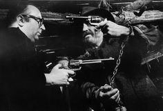 """Sergio Leone and Jason Robards on the set of """"Once Upon a Time in the West"""""""